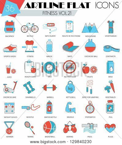 Vector Fitness sport and health ultra modern outline artline flat line icons for web and apps
