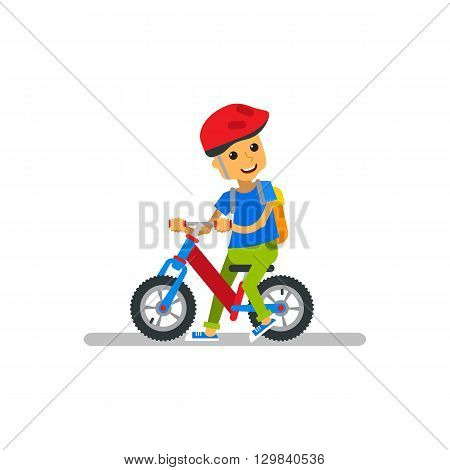 Vector illustration kid riding bicycle on white background. Happy cartoon boy with riding bicycle on isolated.