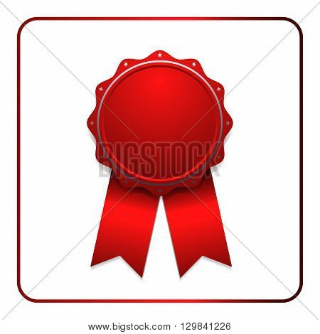 Ribbon award icon. Red badge isolated on white background. Medal design element. Label emblem. Blank certificate winner or prize decoration. Symbol first victory success win. Vector illustration