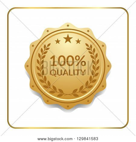 Seal award gold icon. Blank medal isolated on white background. Golden design emblem. Laurel wreath stars. Symbol of assurance winner guarantee and best label premium quality. Vector illustration