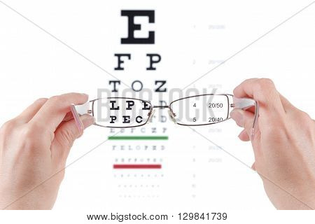 Glasses in hands eye exam chart ophthalmologist isolated on white background