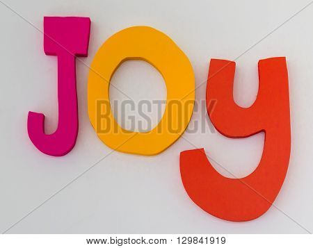 Colorful Words Joy: Text Message on White Background