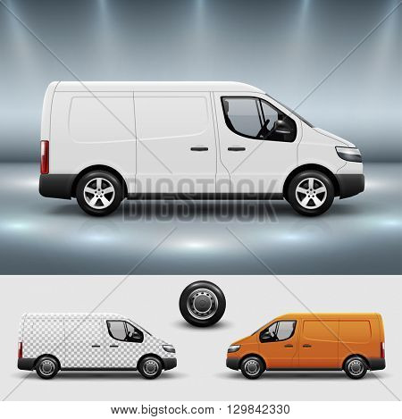 Advertising corporate identity template with commercial transport bus. Mockup for design with easy to use layer composition. Editable vector.