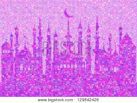 Lilac pattern with mosques on stained glass kaleidoscope backdrop for wishes with beginning of fasting month of Ramadan as well with Islamic holiday Eid al-Fitr and Eid al-Adha. Vector illustration