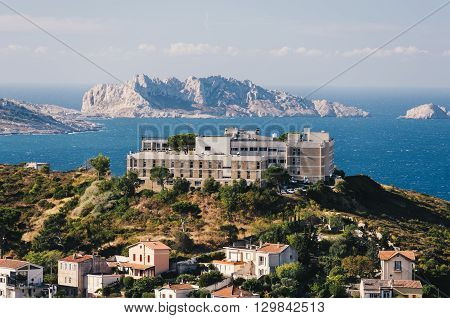 View of the coastline of Marseille in the South of France