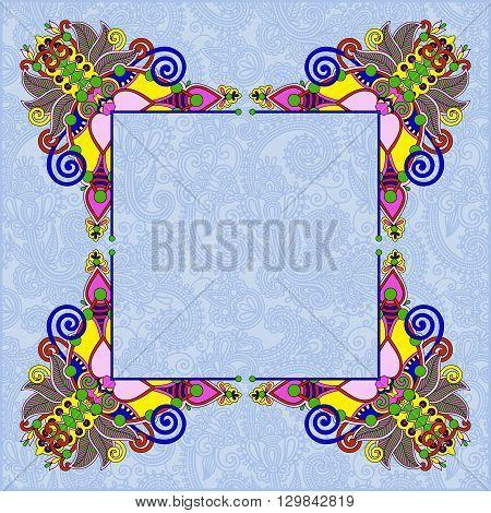floral vintage frame, ukrainian ethnic style. Vector illustration