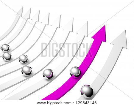 Arrow and balls. 3d business illustration