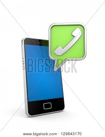 Mobile phone with sign handset. 3d illustration