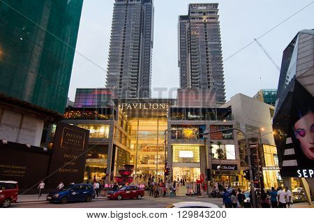 KUALA LUMPUR - MAY 8: Exterior of PAVILION on May 8 2016 in Kuala Lumpur Malaysia. PAVILION is the largest shopping destination in Malaysia consist of luxury fashion food and urban leisure