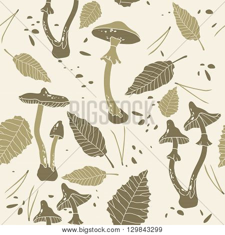 Seamless vector pattern with the image of a poisonous dangerous mushrooms on the light background