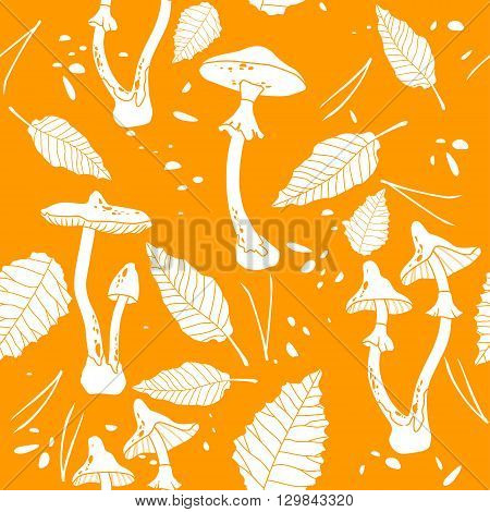 Vector seamless pattern with silhouette image of dangerous poisonous mushrooms on orange background.