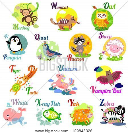 Cute animal alphabet for ABC book. Vector illustration of cartoon animals. M n o p q r s t u v w x y z letters
