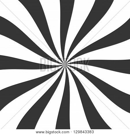 Black Lollypop Candy Background with Swirling, Rotating, Twirling Stripes. Vector illustration