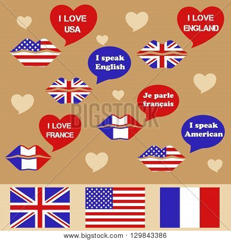 Set of three flags: France United Kingdom and United States of America. Speech bubble set