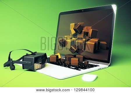 Virtual reality glasses next to laptop with square blocks falling out of screen on green background. 3D Rendering