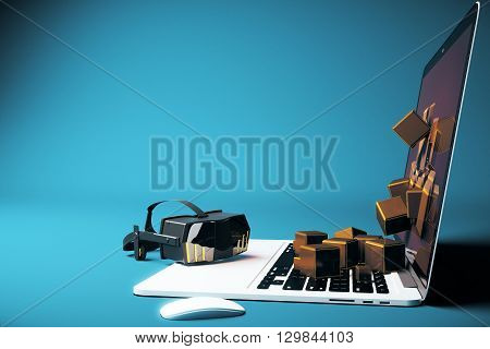 Virtual reality glasses next to laptop with square blocks falling out of screen on blue background. Side view 3D Rendering