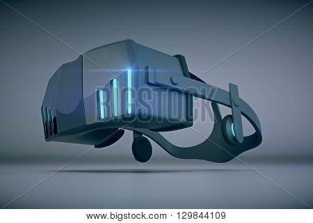 Virtual reality glasses on grey background. Closeup 3D Rendering