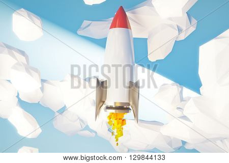 Start up concept with rocket going upward in abstract light blue cloudy sky. 3D Rendering