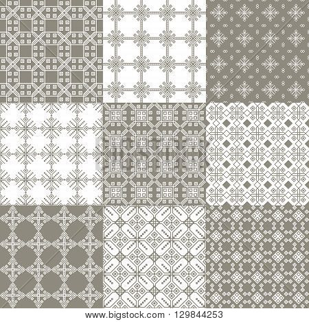 Set of seamless geometric linear patterns in grey tones suitable for home textile design web design packaging Wallpaper-companions ceramic tile