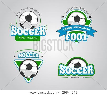Soccer football vector badges, logos, t-shirt design templates. Club soccer sport and t-shirt emblem for football or soccer competition illustration