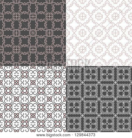 A set of geometric linear seamless patterns noble gray with pink and white color is good for the design of home textiles in the Italian style also for packaging paper Wallpaper tiles web design