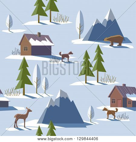 Vector illustration in trendy flat style. Seamless pattern with the image of mountains trees houses dogs and nature suitable for Wallpaper fabric design web design packaging posters