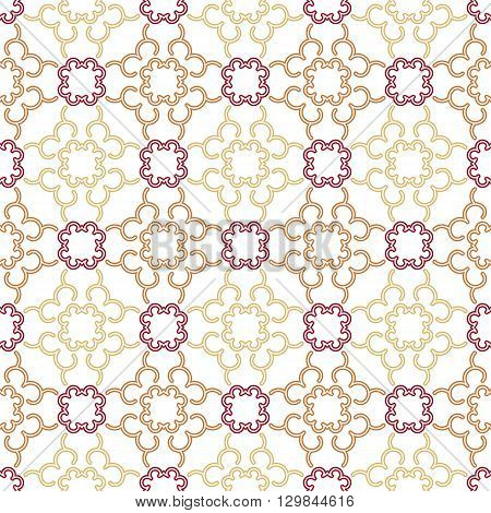 Seamless vector linear geometric pattern using a pale pink and crimson flowers on a light background suitable for textile design packaging web design posters books and notebooks