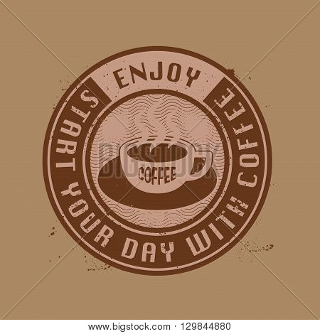 Label or stamp with coffee cup, vector illustration