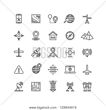 Outline location icons set. Location web and location with mobile phone or laptop. Vector illustration