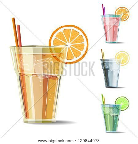 Set of isolated cold drink with citrus. Summer vector illustrations