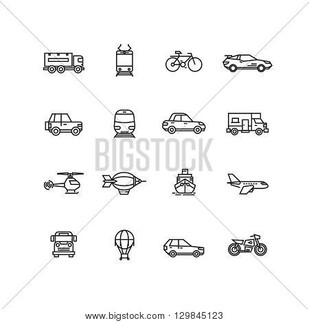 Transport line icons vector set. Transport illustration bus and car for travel, lorry airplane and bicycle transport collection illustration