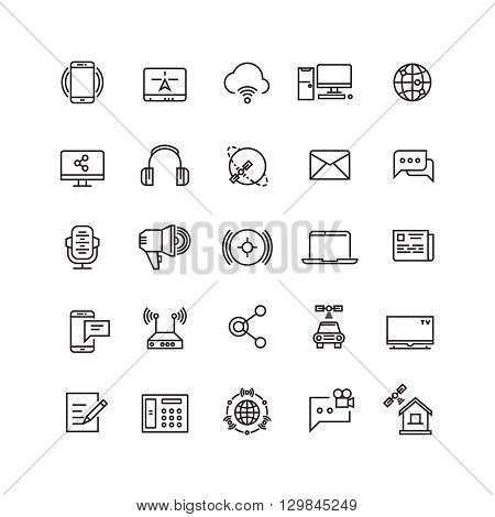 Media and communication line vector icons. Communication media web internet, mobile technology for communication illustration