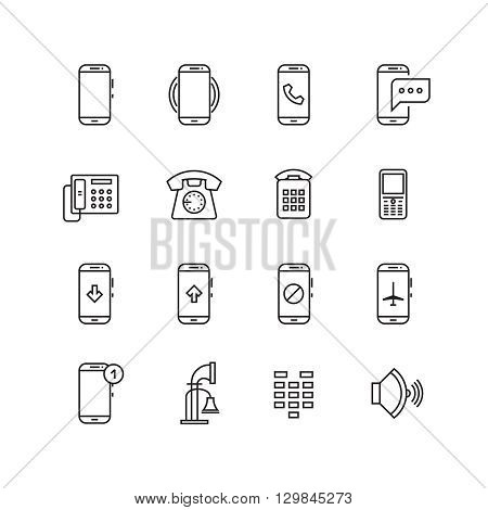 Phone, telephone, smartphone devices and communication vector line icons. Phone smartphone and mobile phone communication, device technology illustration