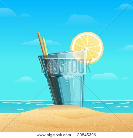 Glass with lemonad with slice oflemon on sea background. Cold drink with ice cube on the sand.