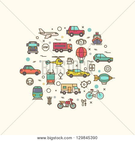 Vehicle and transport icons in circle design. Transportation vector concept with thin line style icons. Vehicle transport composition, bicycle lorry and bus for road travel transport illustration
