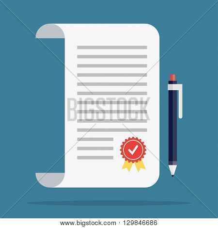 Contract icon in a flat style. Contract vector icons. Contract isolated on a colored background. Contract concept icons. Design icons of the signed contract. Conclusion of a contract.