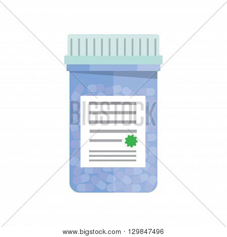 Modern pill bottle for pills or capsules. Isolated icon on white background. Flat style vector illustration.