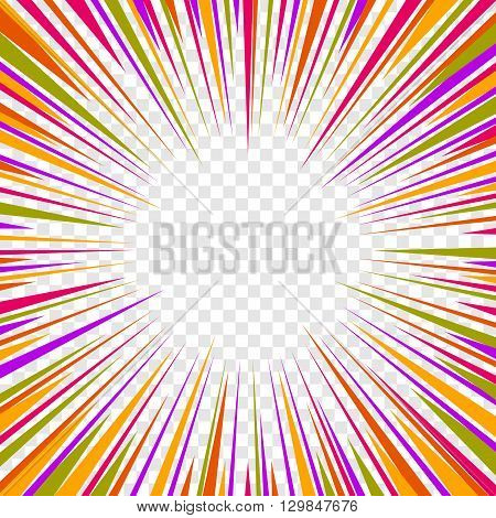 Color Comics Radial Speed Lines graphic effects on Transparent Background. Vector illustration