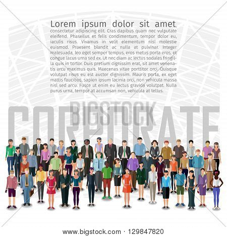 large group of people standing in front of abstract machine, conceptual business illustration