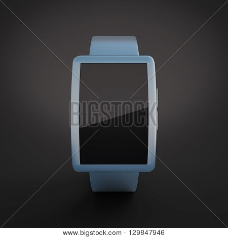 Closeup of blue smartwatch with blank screen on black background. Mock up 3D Rendering