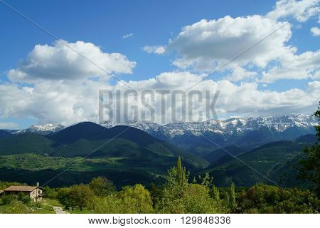 Landscape of Cadi mountain, in the Pyrenees, from Travesseres (Alt Urgell county, Catalonia)