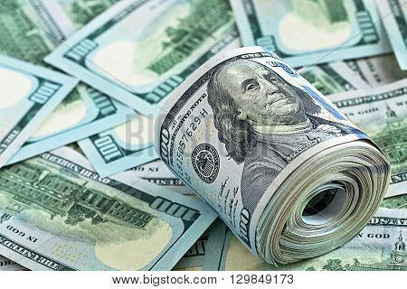 Cash Money. One Hundred Dollars Bills .Money background.