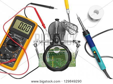 Tools to use in repair electronic, isolated on white background