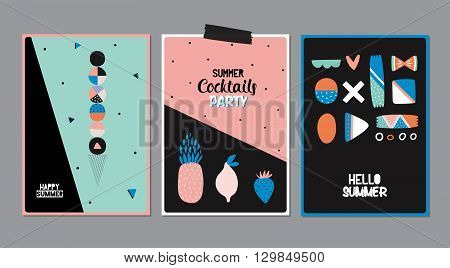 Cute Hello Summer Posters with Trendy Summer Elements. Summer Typographic. Scandinavian Style. Vector. Isolated. Good for Greeting Cards, Gift Tags, Stickers, Placards and Labels Templates.