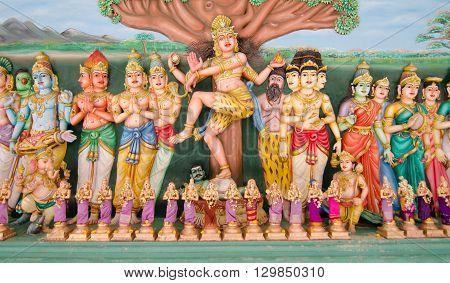 KUALA LUMPUR MALAYSIA - 9 MAY 2016: Traditional statues of Hindu God in Sri Mahamariamman Indian Temple Kuala Lumpur Malaysia
