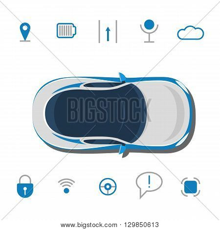 Car technology sign. Driverless car technology features, autonomous vehicle system capability, internet of things road transport. Vector illustration concept isolated on white background