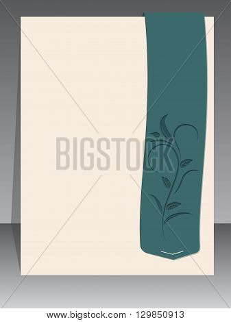 Blank brochure template design with floral elements