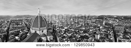 High contrast black and white panorama of the city of Florence, Italy and its cathedral