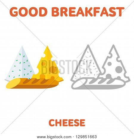 Vector flat and line icon cheese and a loaf. Fresh and healthy breakfast diet food. Web design web icon food menu. Isolated on a white background