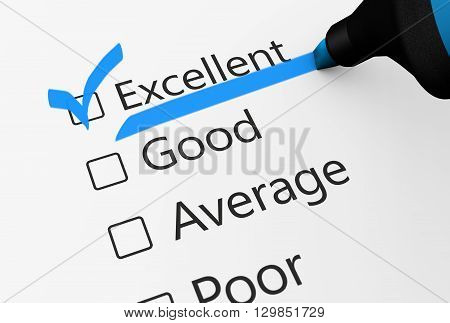 Product quality control business survey and customer service checklist with excellent word checked with a blue check mark 3D illustration.